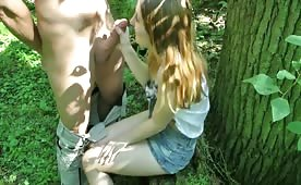 German Teen Cutie Creampied in the Forest