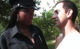 Ebony Police Officer Fucking White Huge Cock