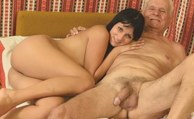 Horny Old Grandpa Fucks a Slutty Teen Brunette