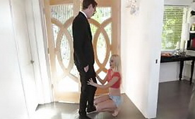 Tiny Blonde Swallow Cum by Salesman