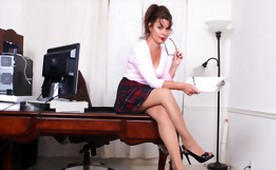 Horny Secretary Touches her Mature Hairy Pussy at Work