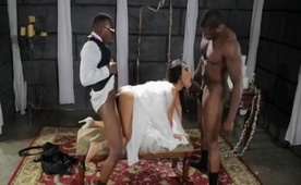 Asian Beautiful Bride Cheating and Banaging Pussy with 14 inch Two Black Stud