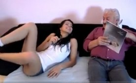 Nasty Grandpa Seduces Young Cutie on Christmas Eve