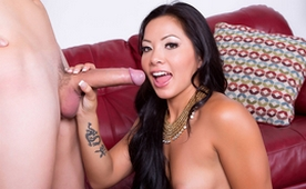 Asian Sexy Doll after Intense Fuck gets Nice Cumshot by the Large Shaft