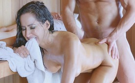 Hot Latina MILF Takes Fat Cock in Asshole on Sauna