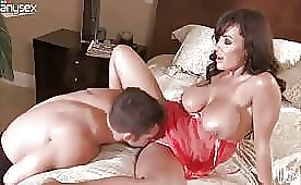 Hot and Rich Busty Milf Rides her Futuristic Lover's Dick While her Husband Earns Money
