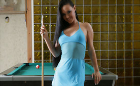 She Is Good At Handling That Cue Ball, But What About Four Of Them In Real Life?