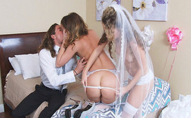 Groom And Maid Of Honor Are Trying The New Bride In Bed