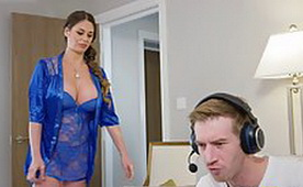 Adorable Milf in Blue, Lacy Lingerie Gave a Blowjob and Hard Fucked by the Best Friend Of Her Daughter