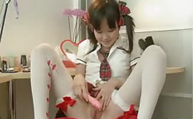 Adorable Asian Schoolgirl Toying Tiny Pussy
