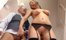 Filthy Grandpa Pays Gorgeous Teen To Ride His Old Dick