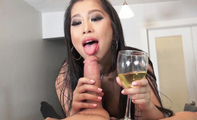 Cheers! Drunk Asian Whore Sucks Cock and Gets Her Mouth Full of Cum