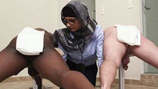 Mia Khalifa Jerks Two, Black & White Cock
