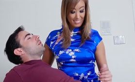 Son Needs to Help to Relax and Helps Him His Hot Asian Step-Mom Very Successful