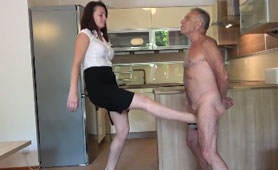 Young Teenage Girl Destroys the Old Man Balls